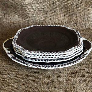 VTG Ceramic Platter and 4 Lunch Plates